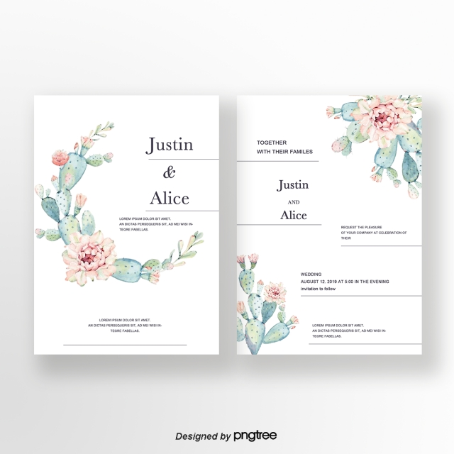 Png Tree With White And Pink Flowers - Green Fresh Style Cactus Pink Flowers White Wedding Invitation ...
