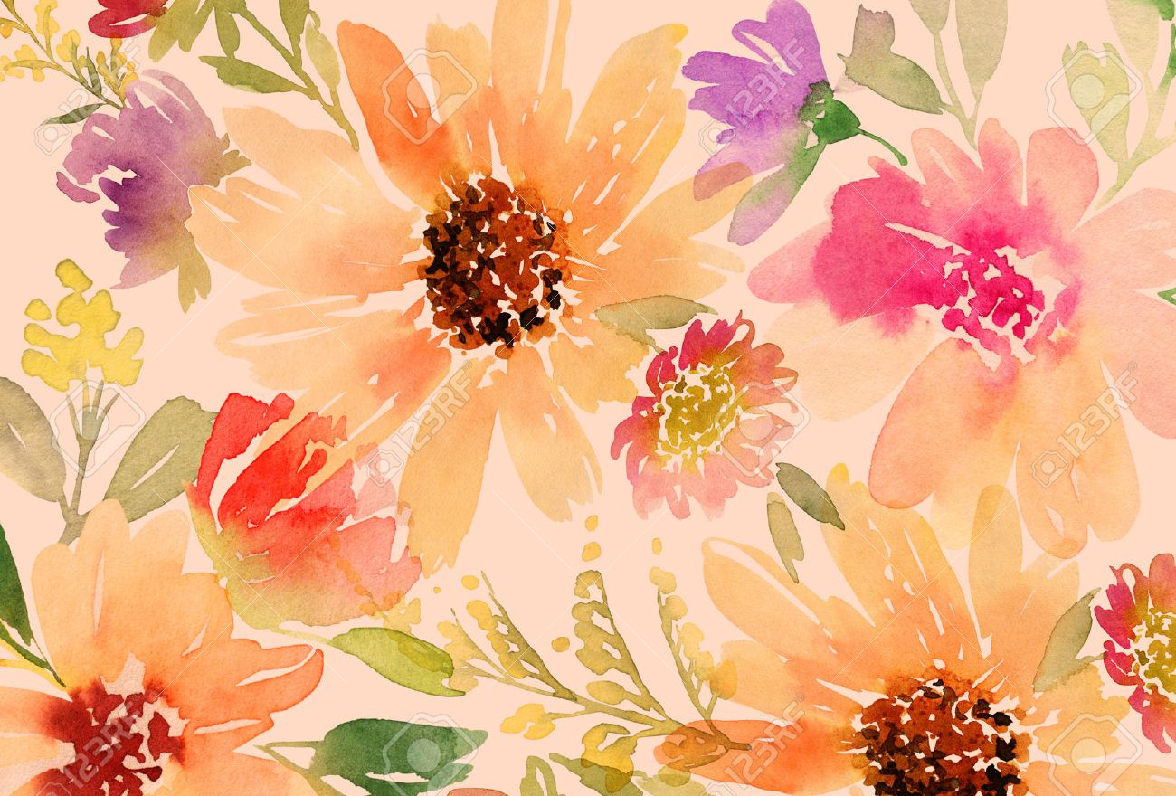 Watercolor Flowers Background Free Watercolor Flowers Background