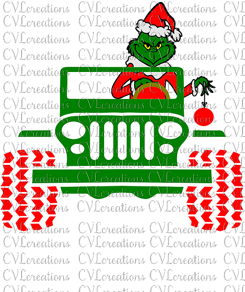 Jeep Svg Png - Grinch Driving JEEP Digital File SVG PNG DXF EPS PDF | CVLcreations