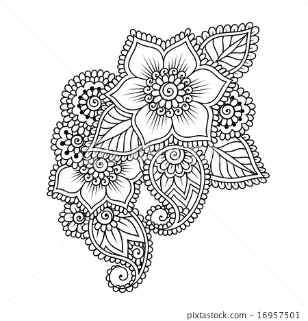 Henna Doodles Png - Hand-Drawn Abstract Henna Mehndi Flower Ornament - Stock ...