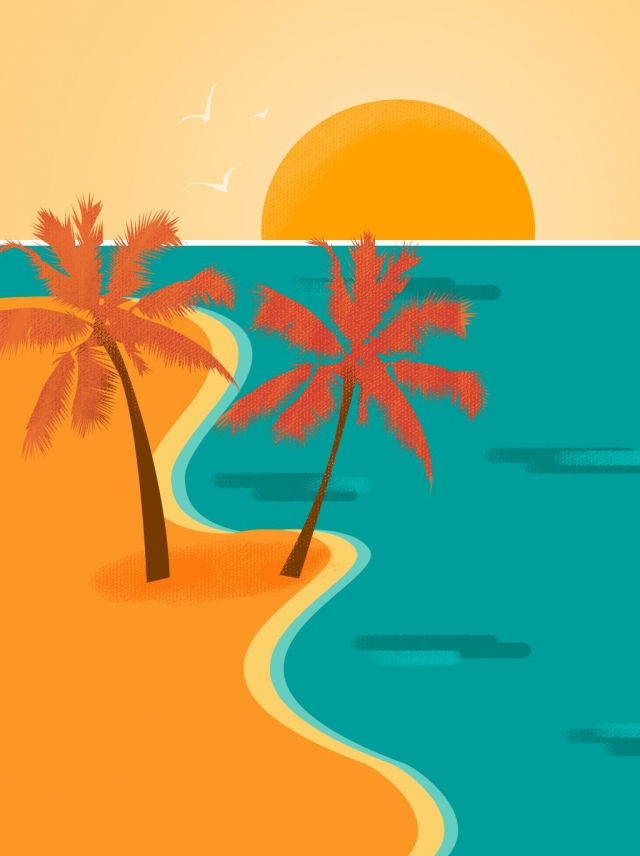 Autumn Sunsets Png Backgrounds - Hand Drawn Autumn Seaside Sunset Cartoon Style Background, Sunset ...