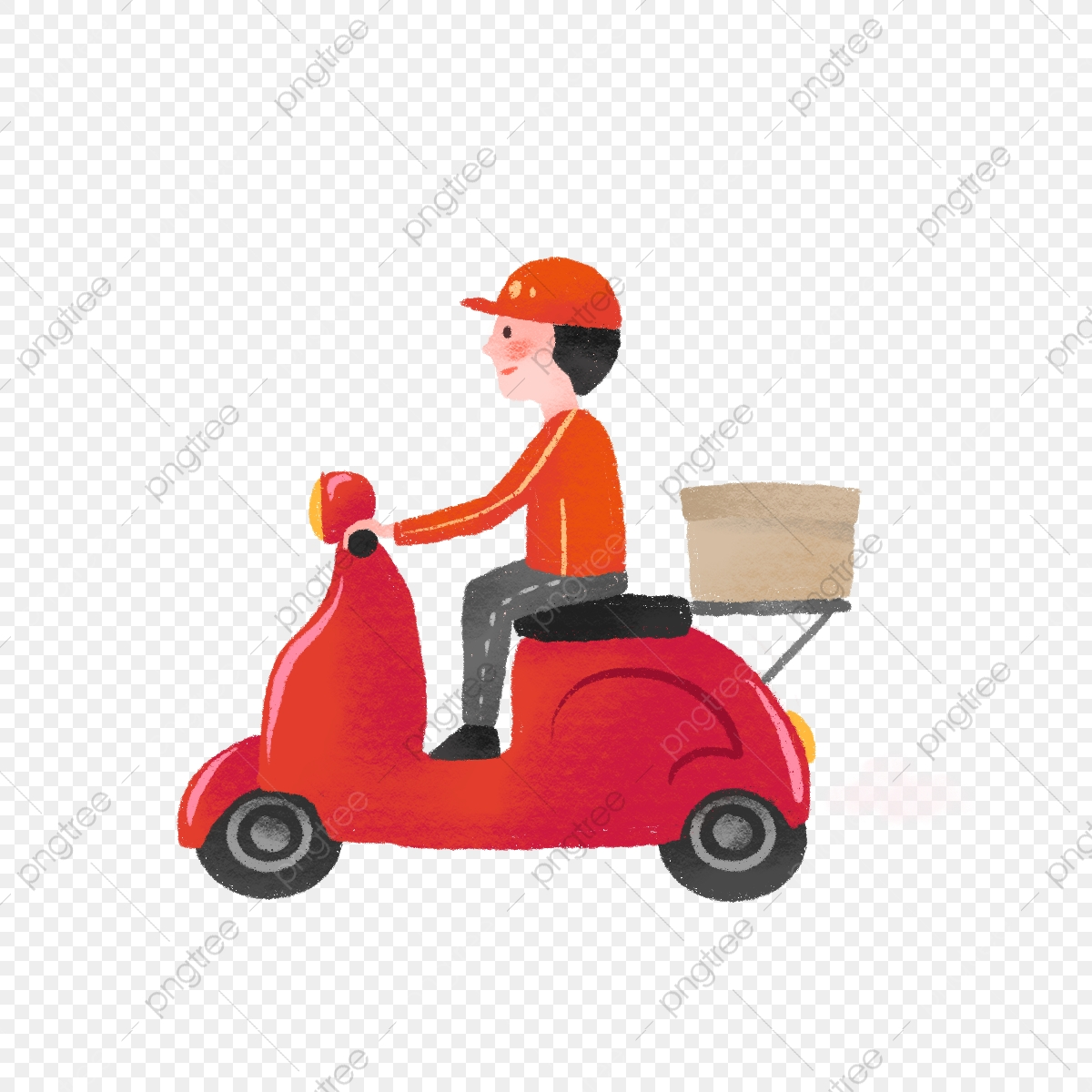 Delivery Guy Png - Hand Drawn Cute Delivery Guy, Express, Motorcycle, Parcel PNG ...