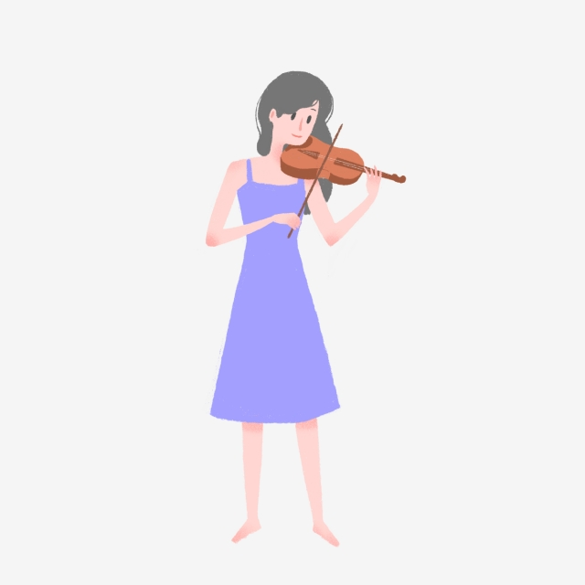 Cool Girl Violin Png - Hand Drawn Cute Girl Playing Violin, Instrument, Female, Hand ...