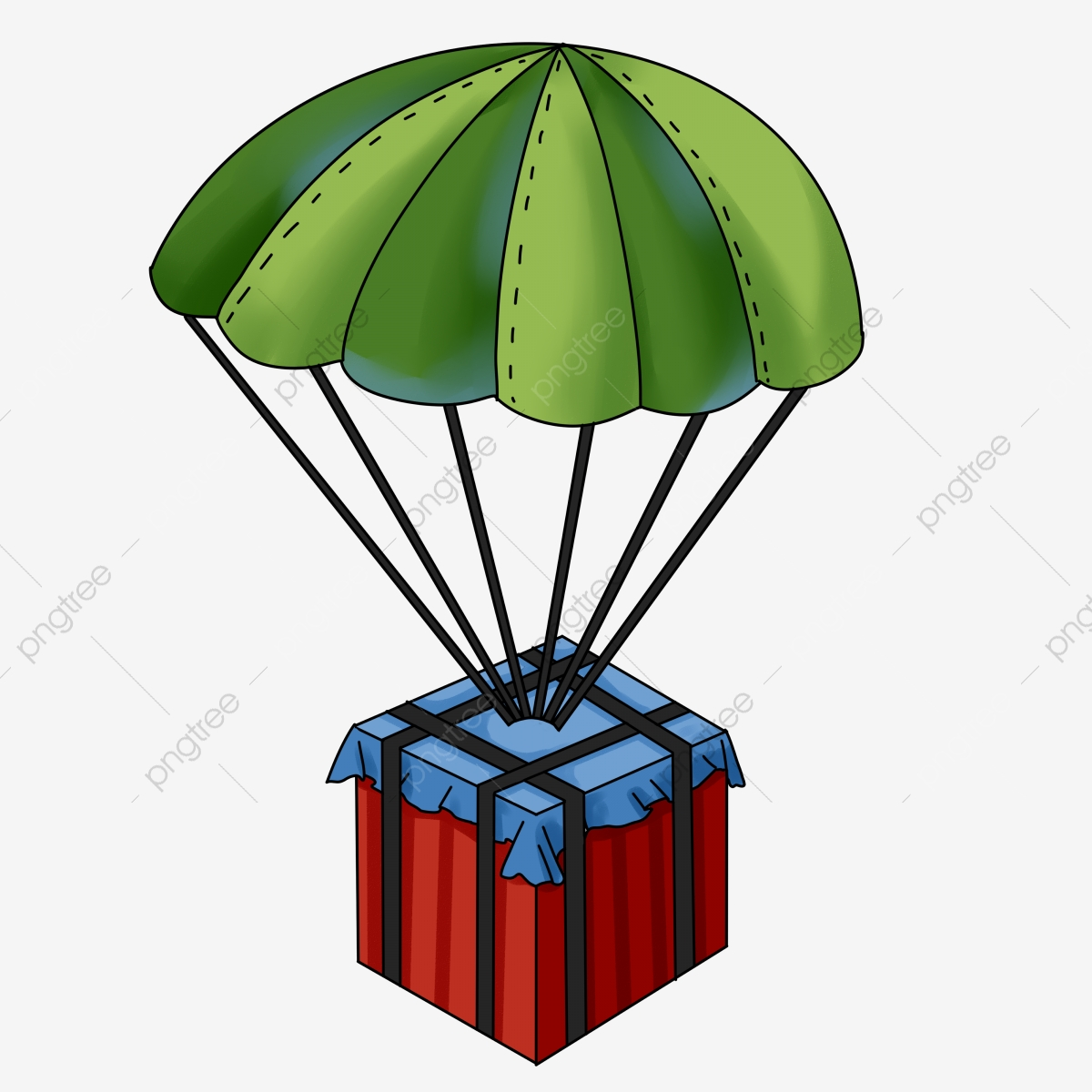 Airdrop Png - Hand Painted Commercial Game Eat Chicken Airdrop Box Parachute ...