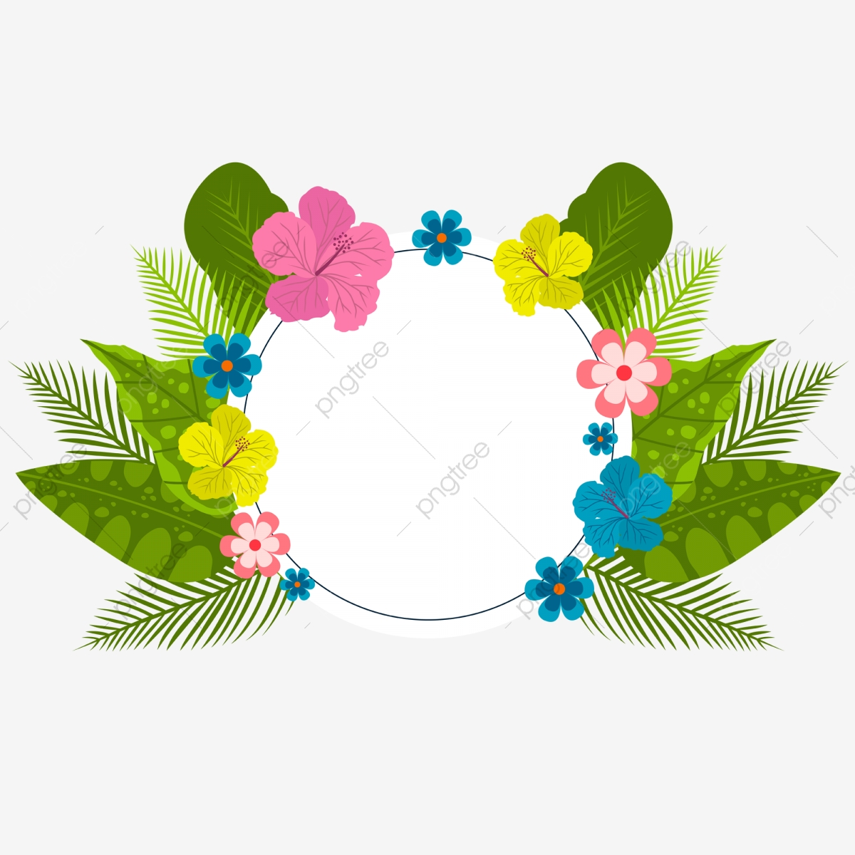Pink Yellow Circle Png - Hand Painted Flower Frame Green Leaf Flower Yellow Flower, Pink ...