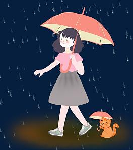 Little Girl Playing In Rain Png - Hand Painted Rainy Day Umbrella Png Transparent | Free Png ...