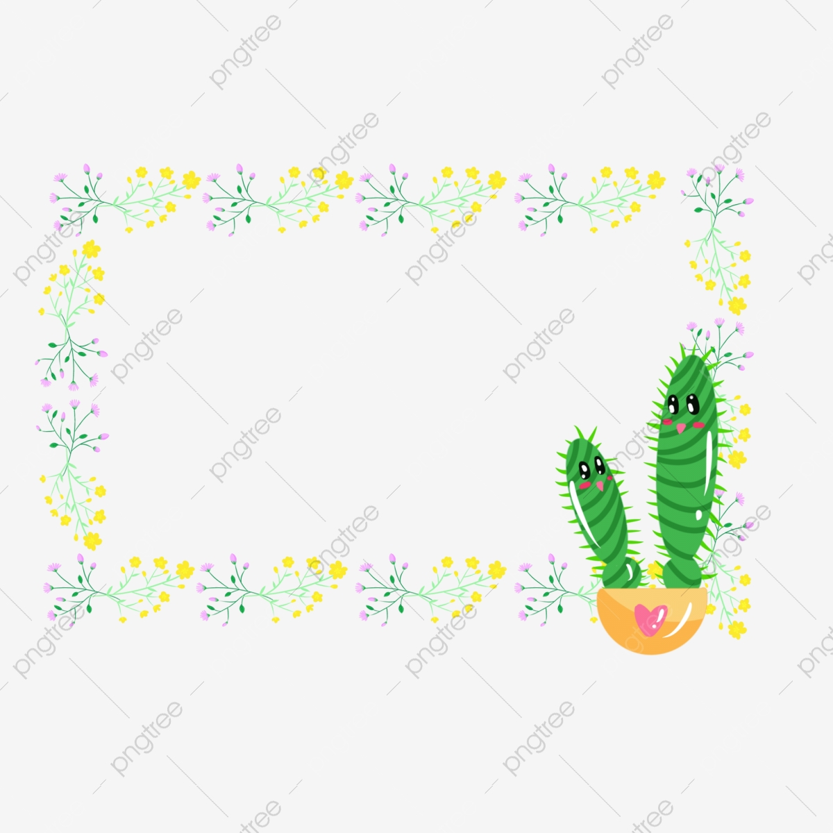 Cactus Border Png - Hand Painted Small Fresh Protection Plant Flowers And Plants ...