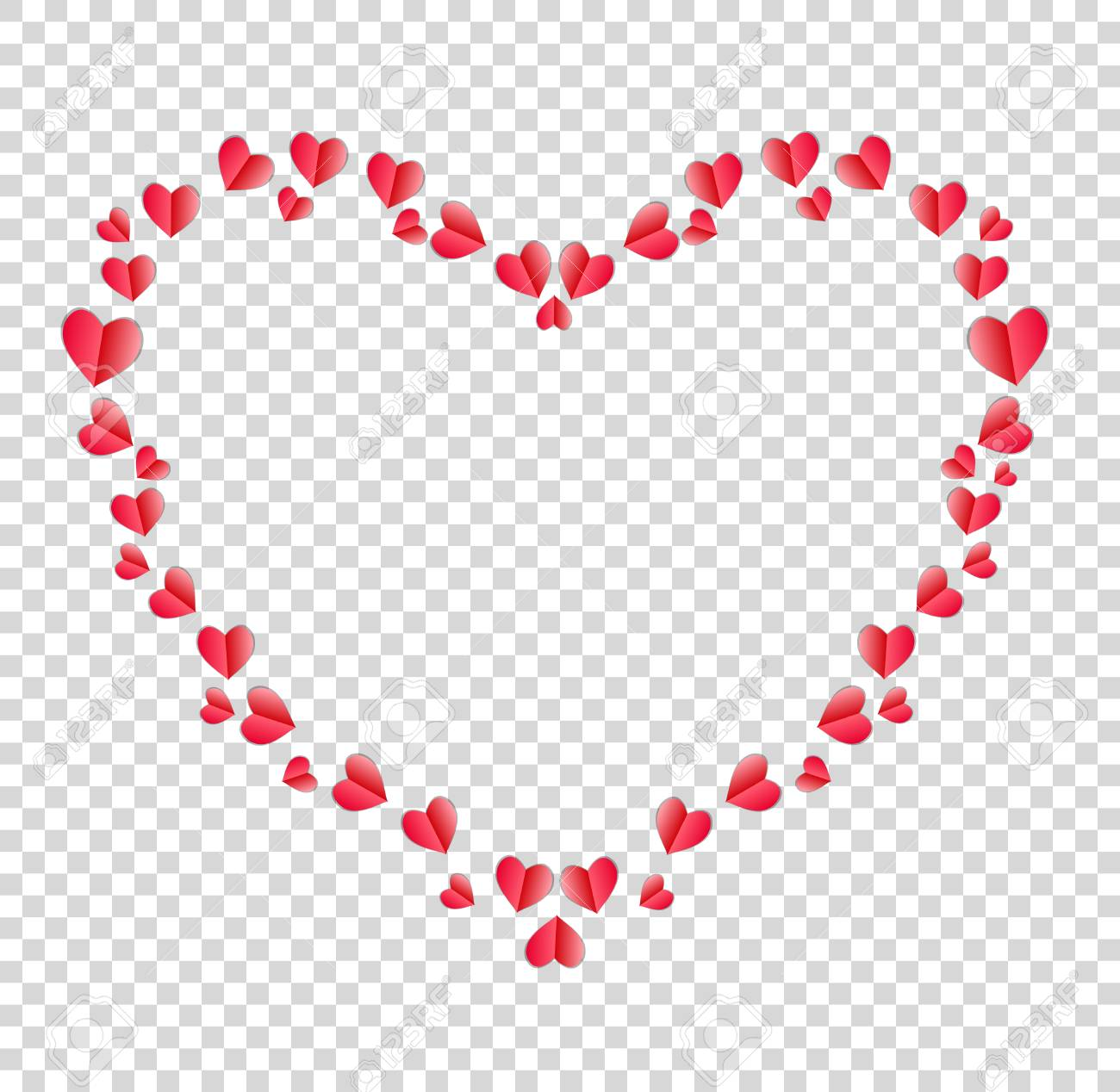 Heart Outline Transparent Background - Heart Border Made Of Red Folded Paper Hearts With Space For Text ...