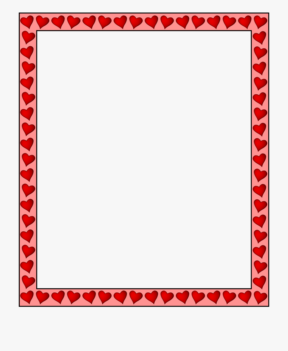 Heart Page Border Png - Heart Border Png Hd - Page Border Design Red , Transparent Cartoon ...