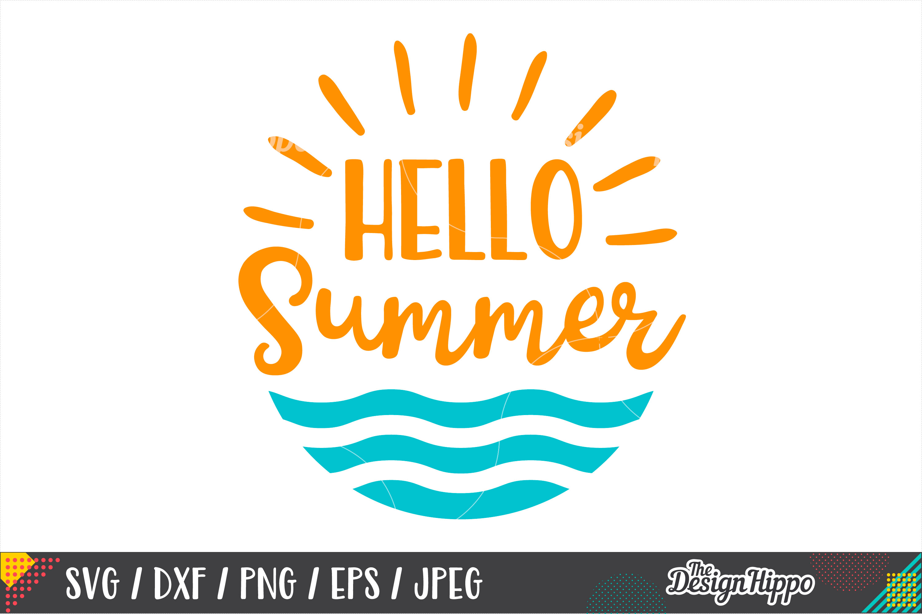Hello Summer Png - Hello Summer SVG, Beach, Waves, Sunshine, SVG PNG DXF Files