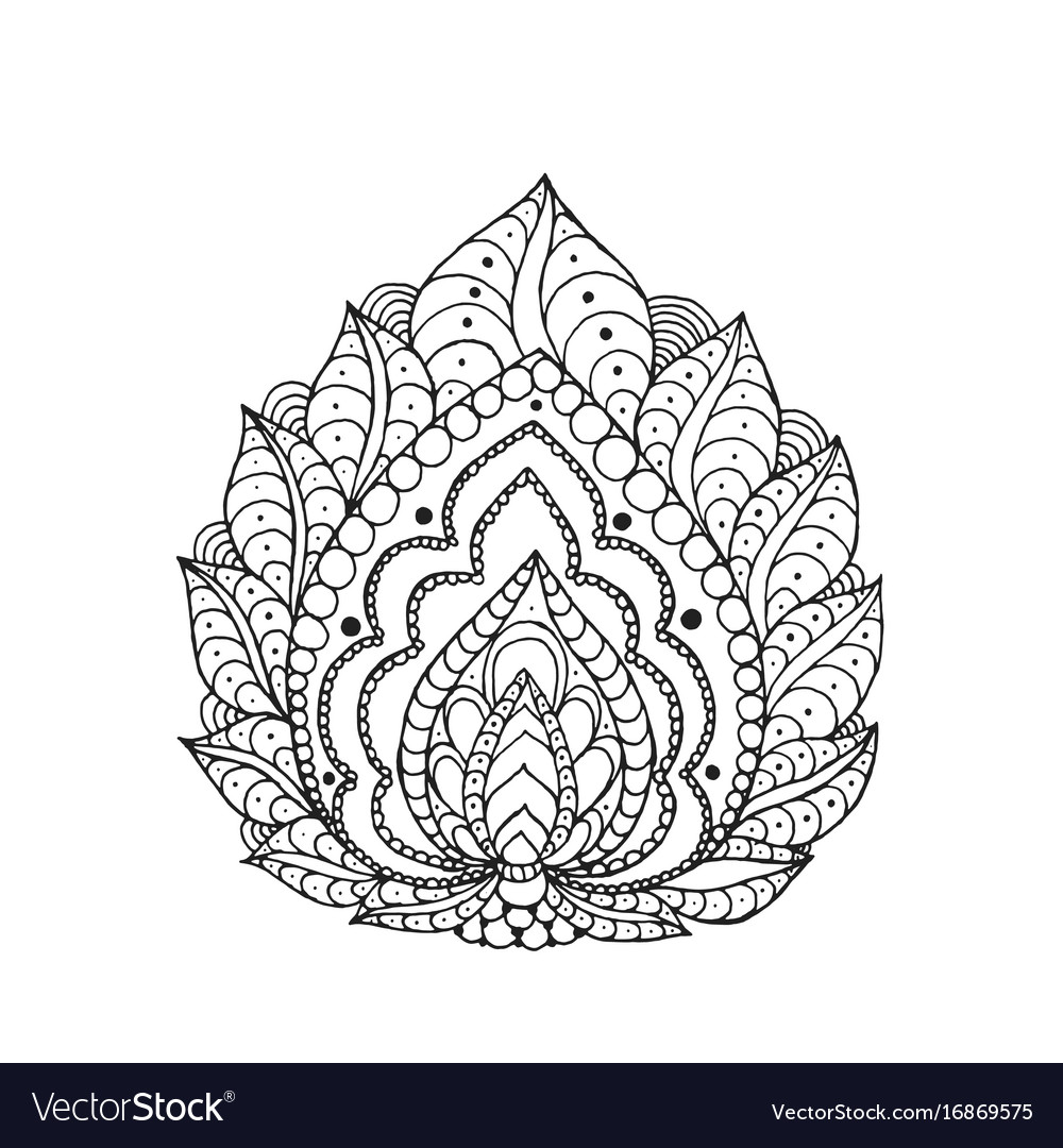 Henna Doodles Png - Henna doodle paisley flower Royalty Free Vector Image