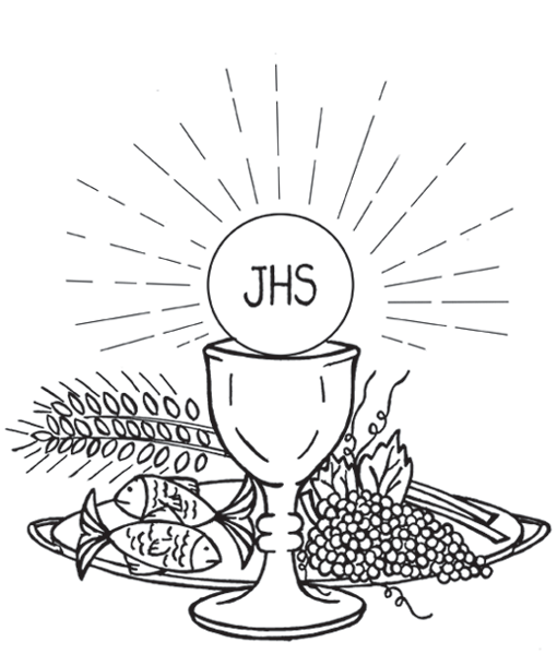 Eucharist Png Black And White - Holy Eucharist / First Communion Catholic Coloring Page   bordado ...