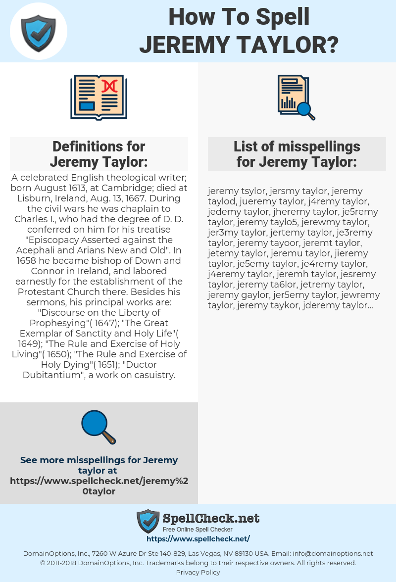 Jeremy Taylor Png - How To Spell Jeremy taylor (And How To Misspell It Too ...
