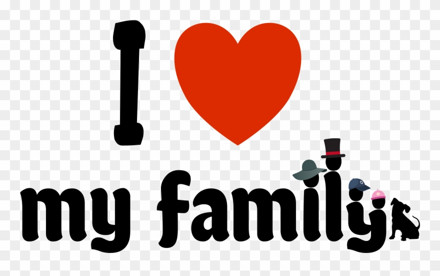 I Love Family Png - I Love My Family With Four Funny Hats And The Dog Clipart ...