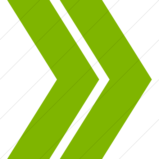 Green Chevron Png - IconsETC » Simple green classic arrows double chevron right icon