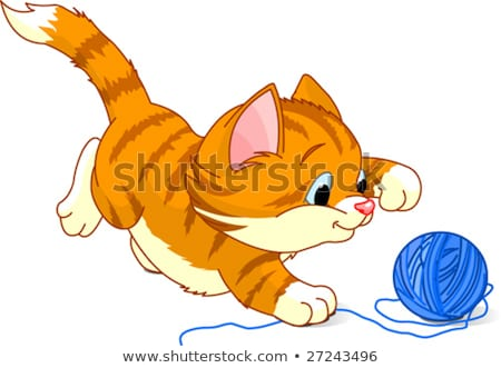 Kitten Playing With Yarn Png - Image of kitten playing with a ball of yarn