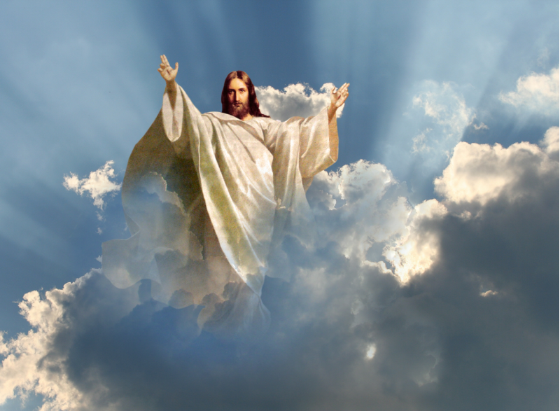 Image result for picture jesus in the clouds