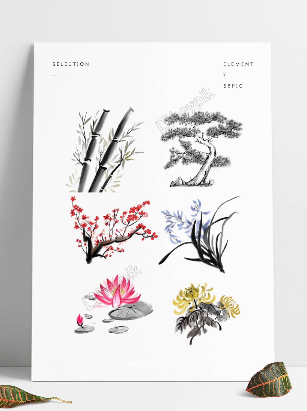 The Bamboo Tree Growth Process Png - Ink plant plum orchid bamboo plum blossom pine tree water lily set ...