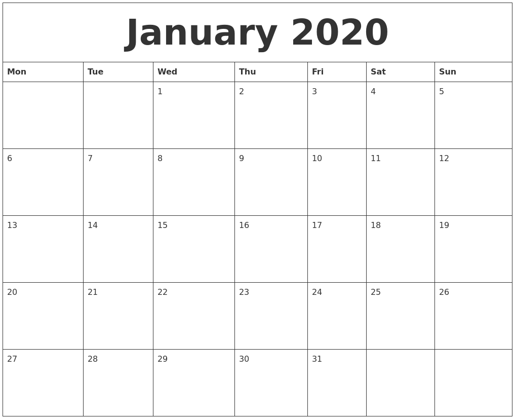January 2020 Printable Calendardaily Quotes Daily Calendar Page January Png & Free Daily Calendar Page January