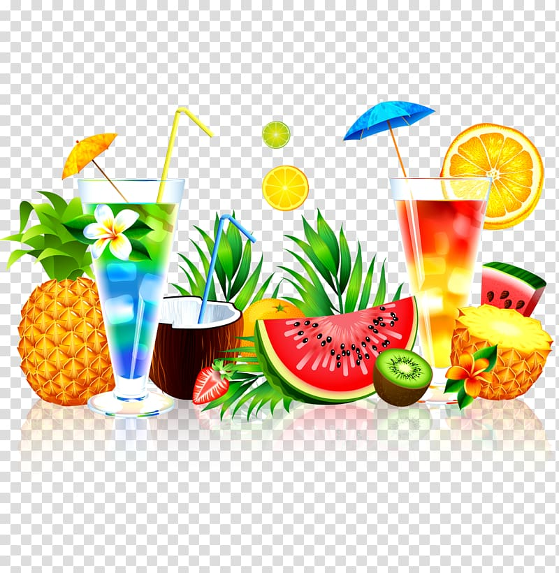 Summer Food Background Png - Juice Fruit Watermelon Pineapple, Summer juice, variety of fruits ...