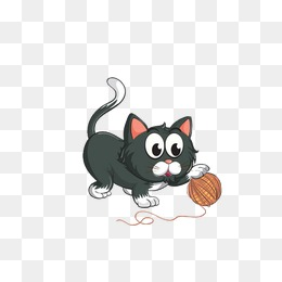 Kitten Playing With Yarn Png - kitten playing with a ball of yarn, Cat, Black, Cartoon PNG Image and