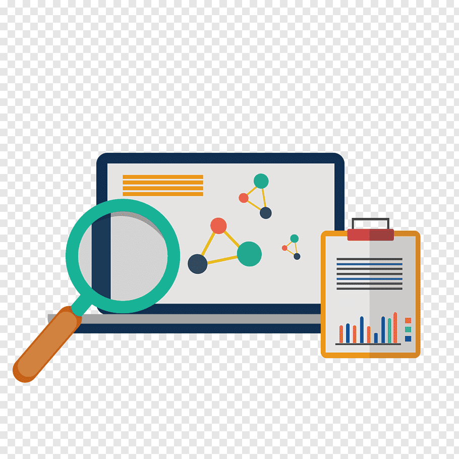 Computer Research Png - Laptop with magnifying glass and clipboard art, Digital marketing ...