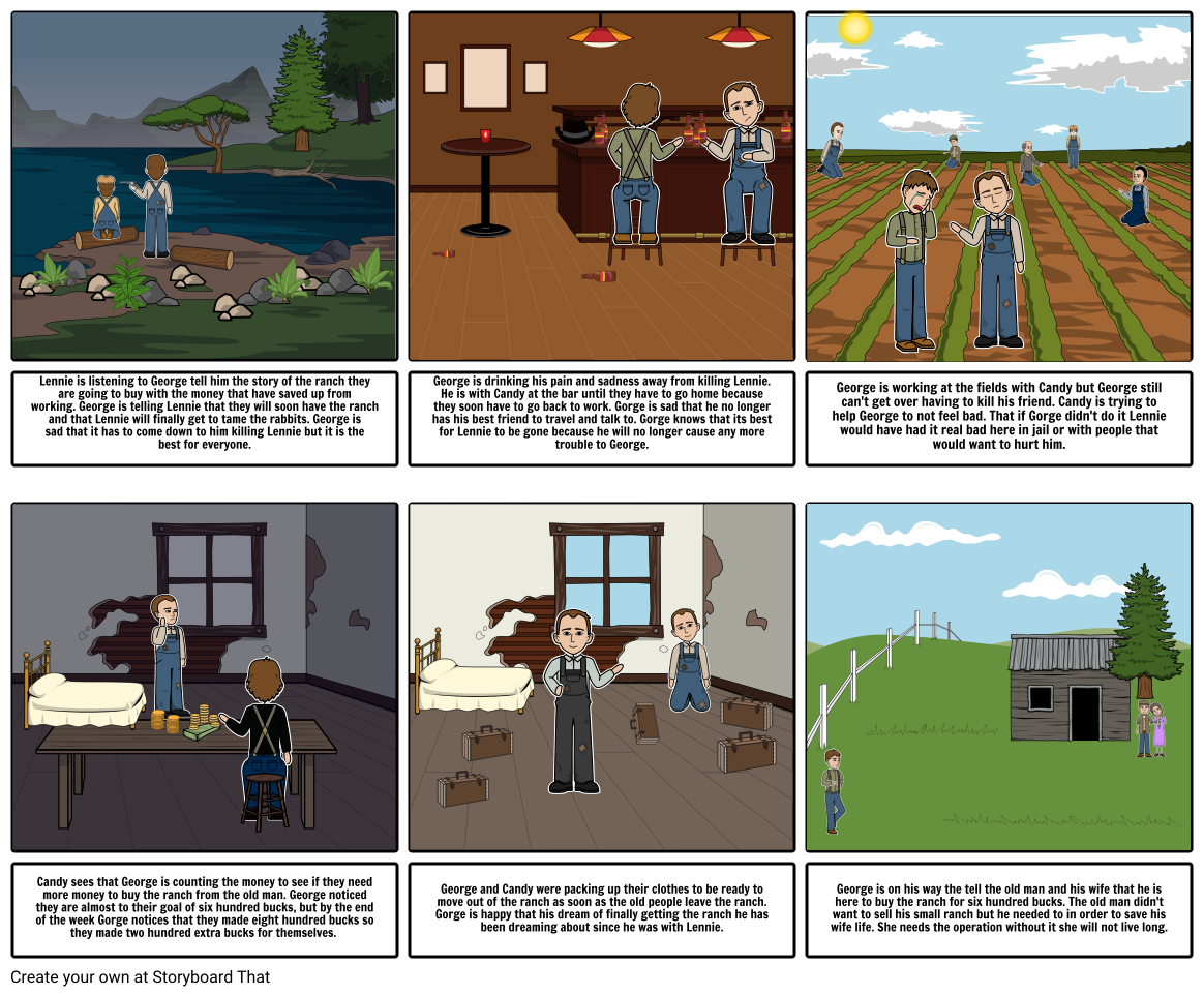 Old Man And His Dream Png - Lennie is listening to George tell him the story of ...