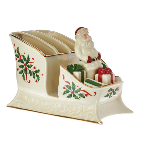 Santa Waterslide Sled Png - Lenox Holiday Christmas Santa Sleigh Caddy Centerpiece with Salt ...