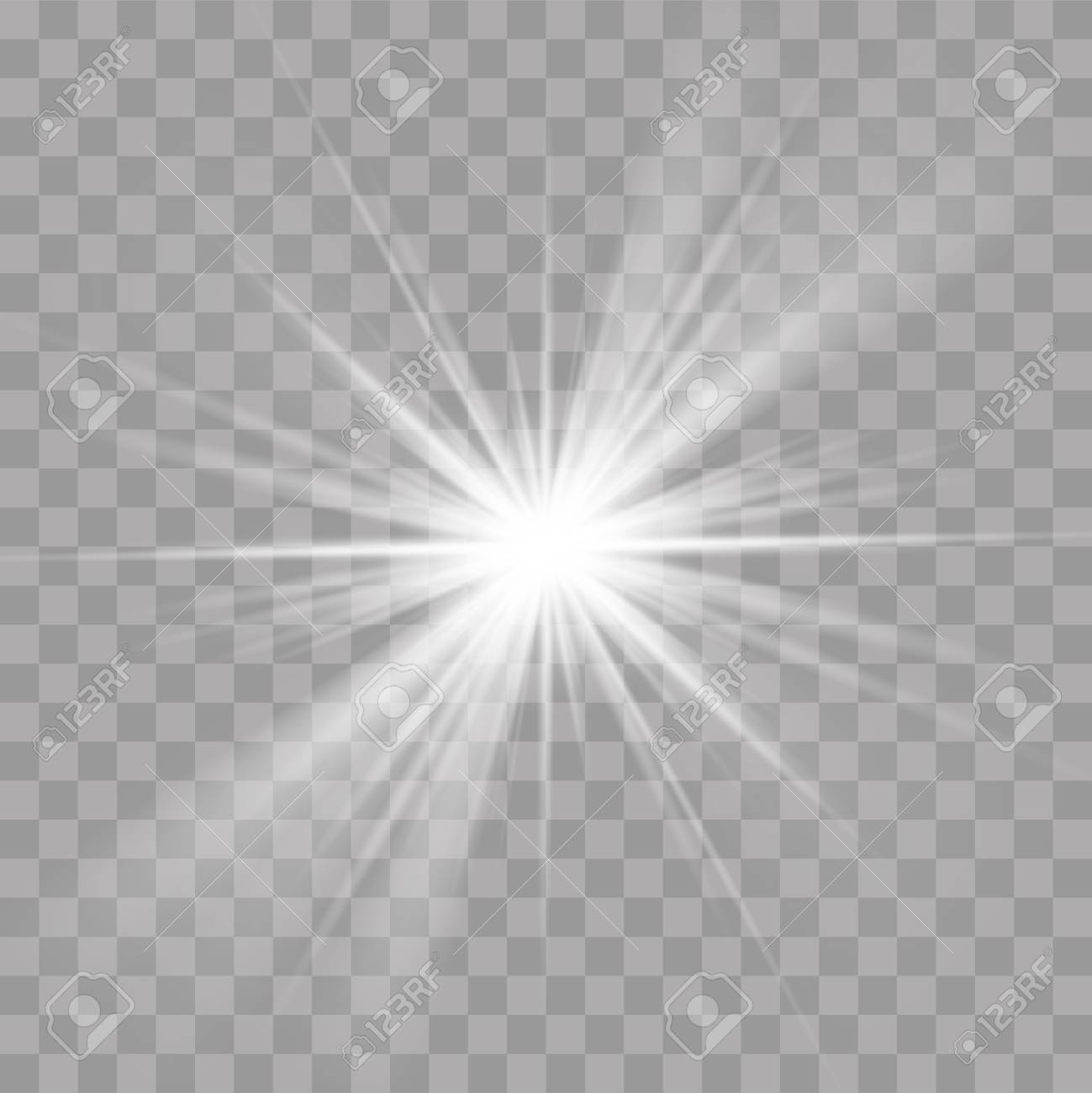 Light Rays Transparent - Light Rays Sun Or Star Shine Flash Radiance Effect. Vector Bright ...