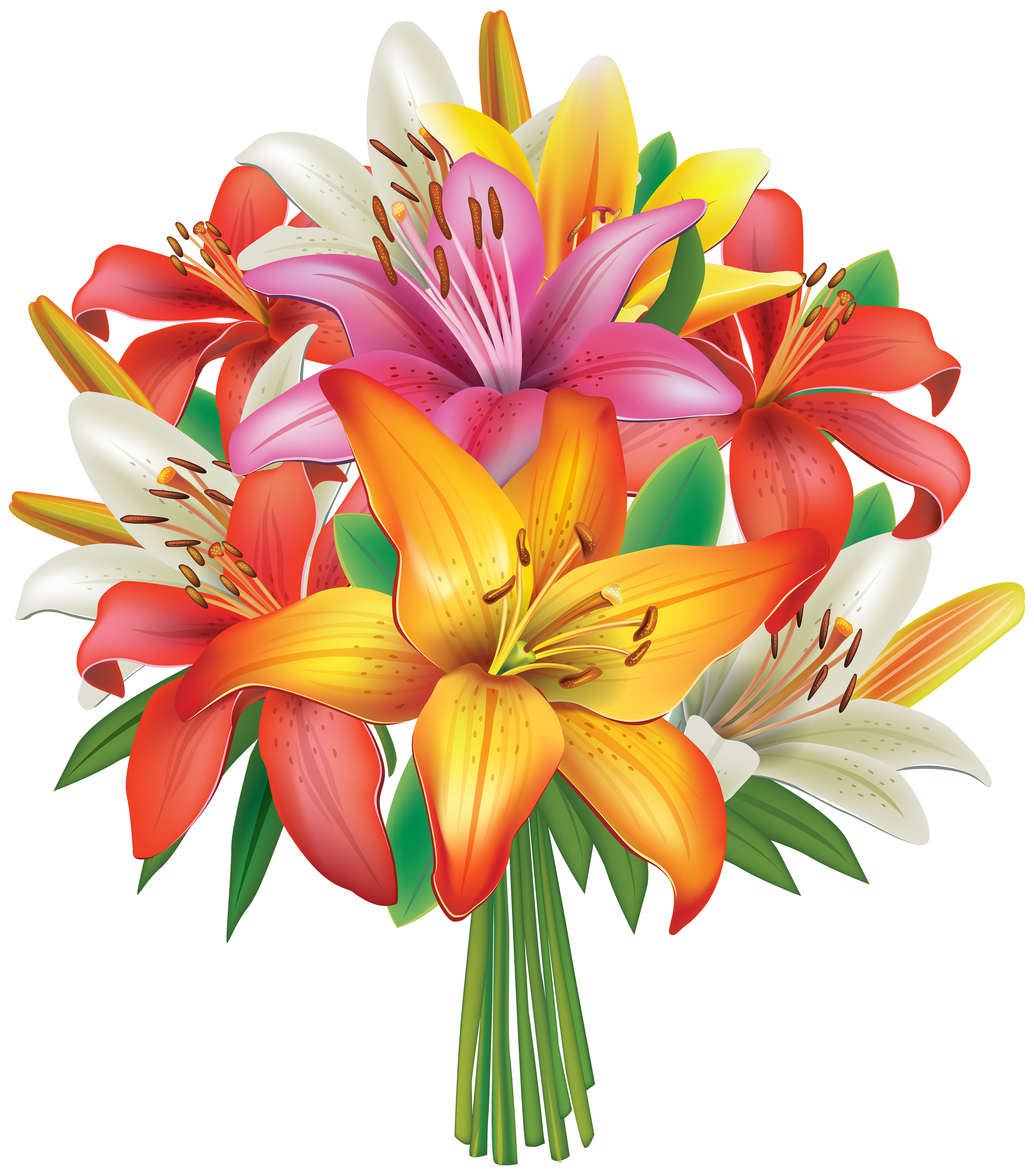 Lilies Flowers Bouquet Png Clipart Image 862930 Png