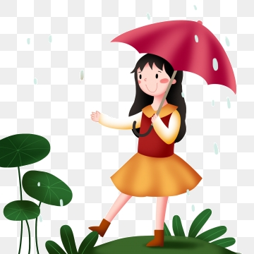 Little Girl Playing In Rain Png - Little Girl With Umbrella In The Rain, Gu Yu Character ...