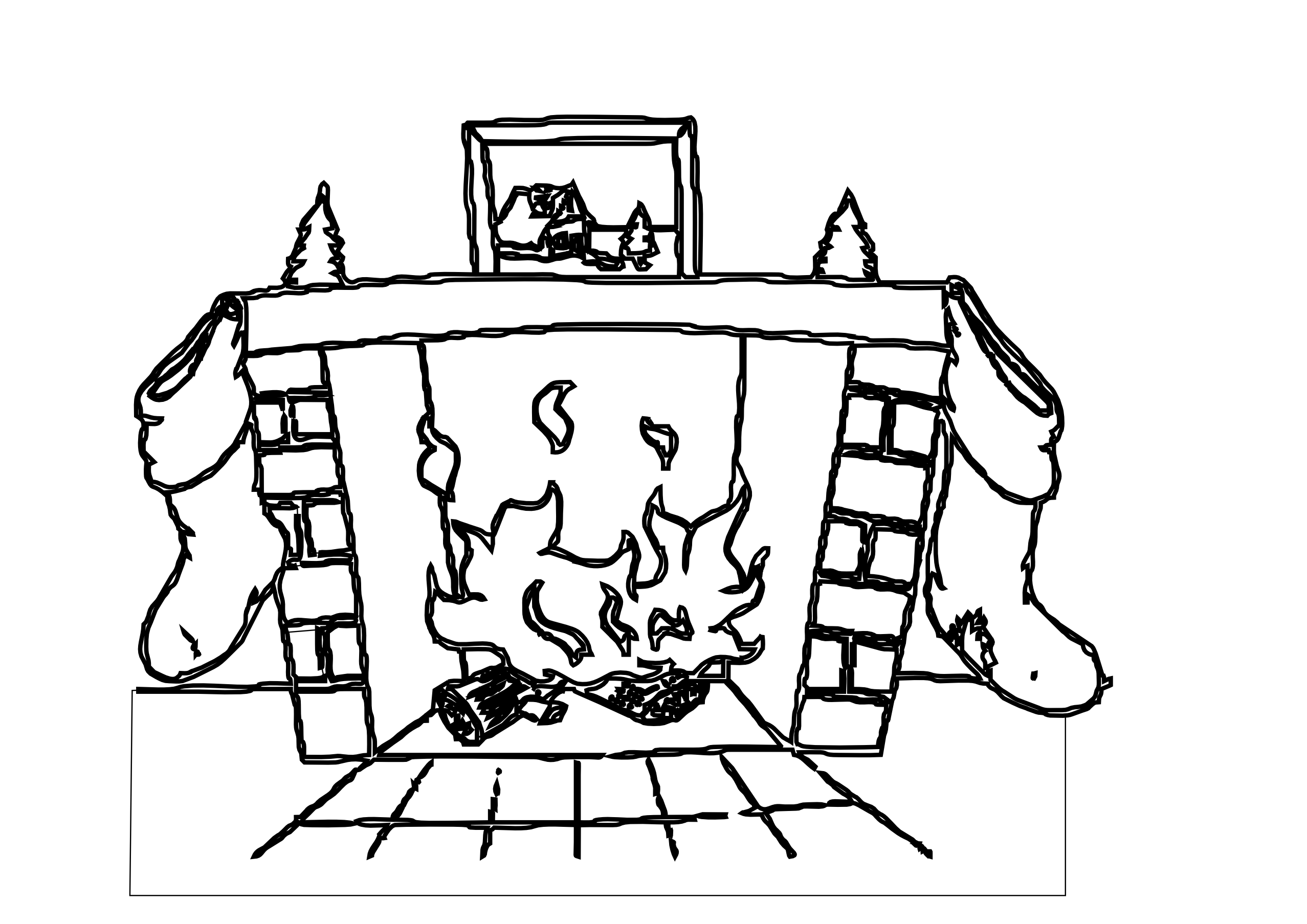 Fireplace Drawing Png - Log Fire Clipart Black And White