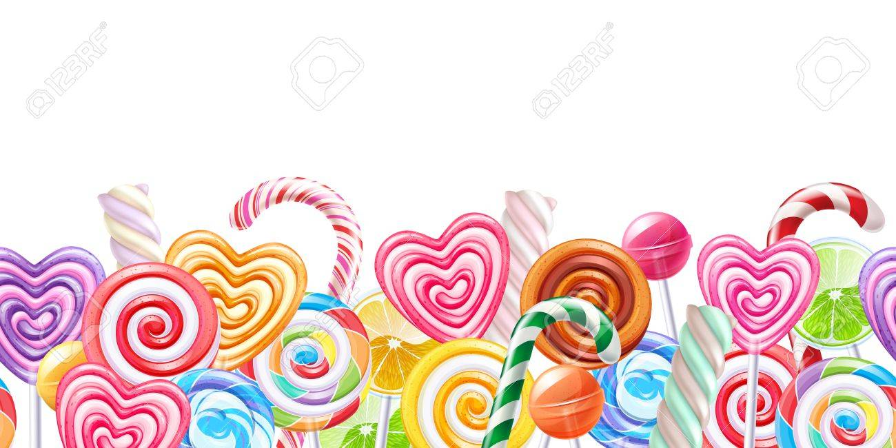Candy Border - Lollipops Candy Border. Hard Candies On Stick. Seamless Horizontal ...