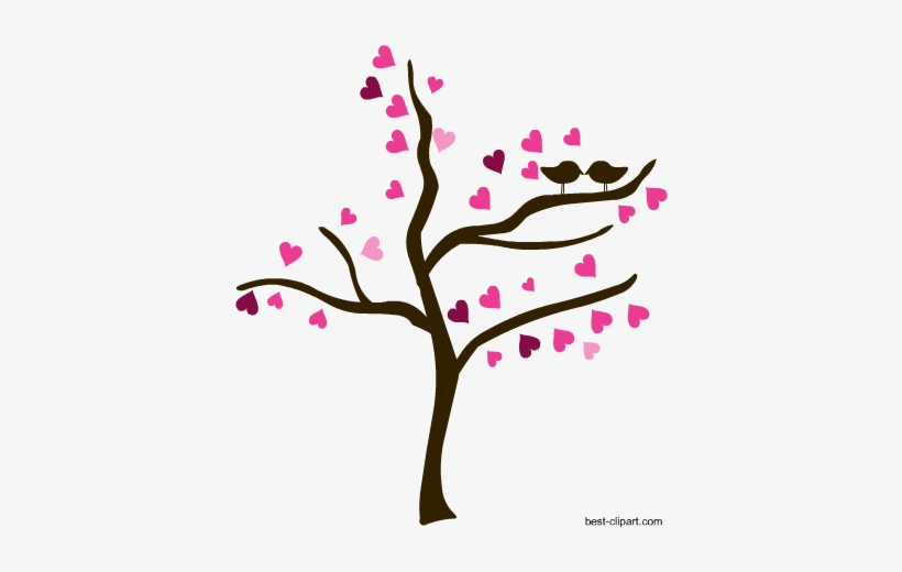 Love Birds In Tree Png - Love Birds On A Tree, Free Valentine Clip Art - Clip Art ...