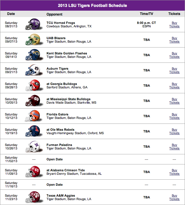 Lsu Football Schedule Png Free Lsu Football Schedule Png Transparent Images 58064 Pngio