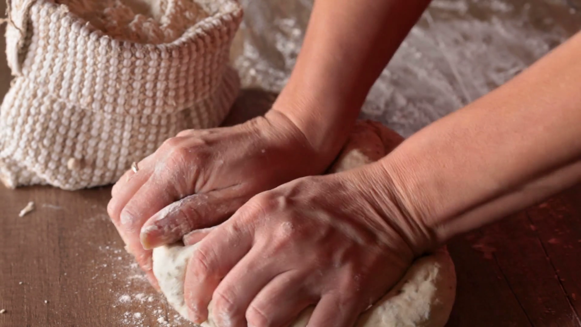 Woman Kneading Bread Png - Making bread - woman hands kneading the dough, closeup Stock Video ...