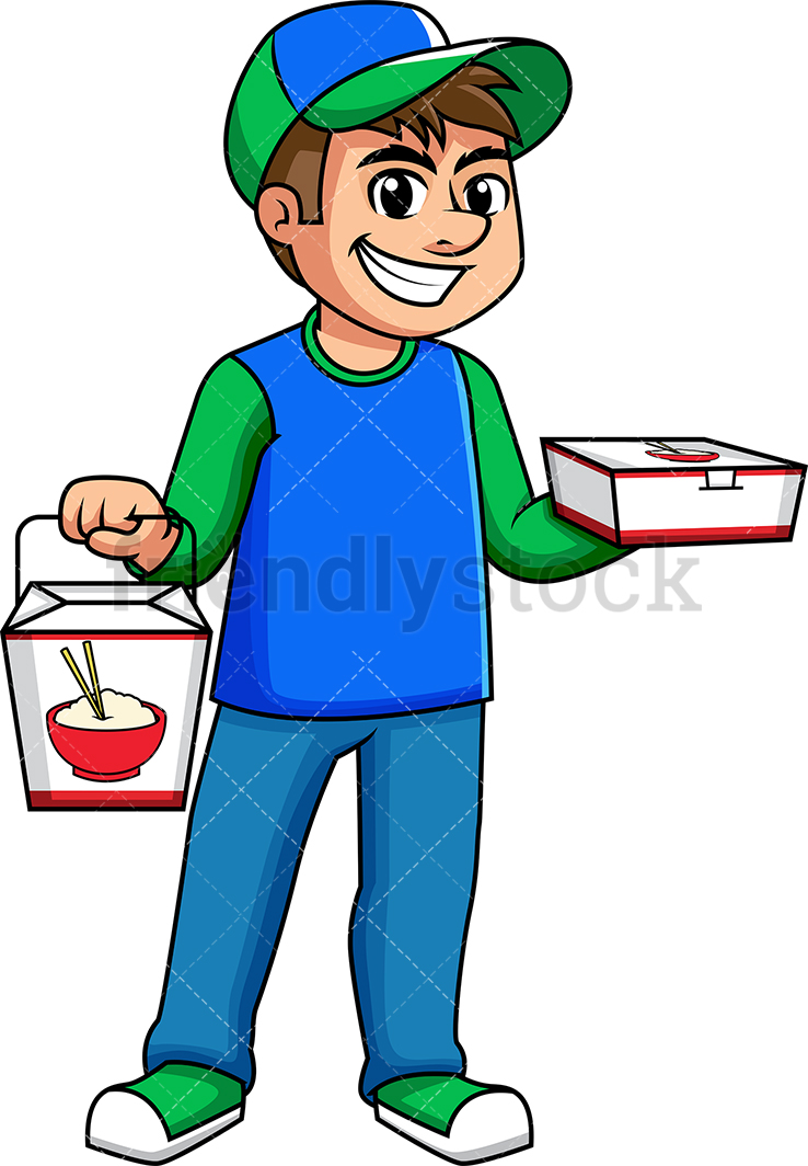 Guy With Food Png - Man Delivering Asian Food Cartoon Vector Clipart - FriendlyStock