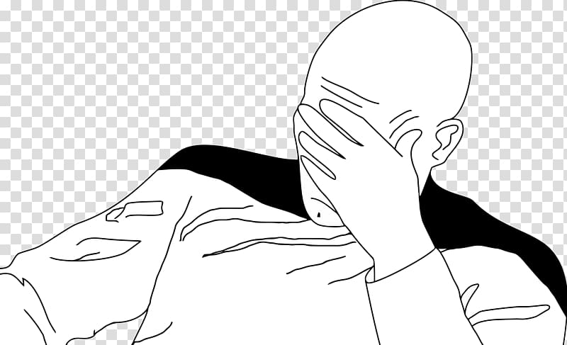 Facepalm Transparent Background - Man holding forehead illustration, Jean-Luc Picard Facepalm Rage ...