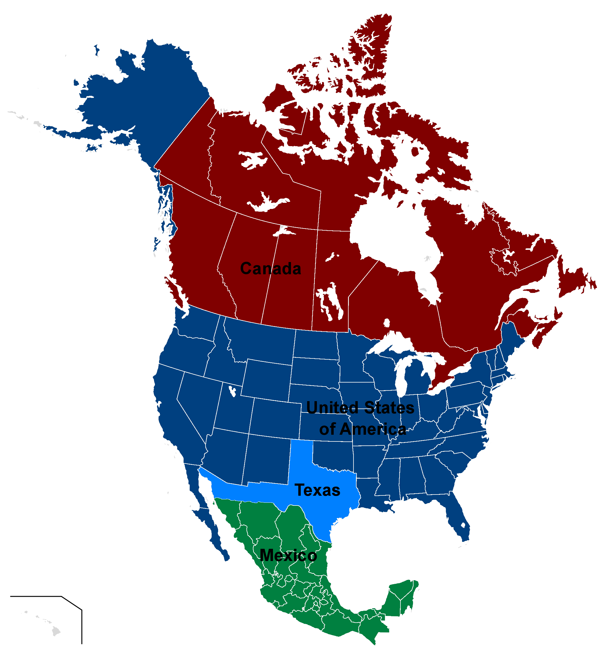 North America Map Png - Map of North America (Texan Pride).png