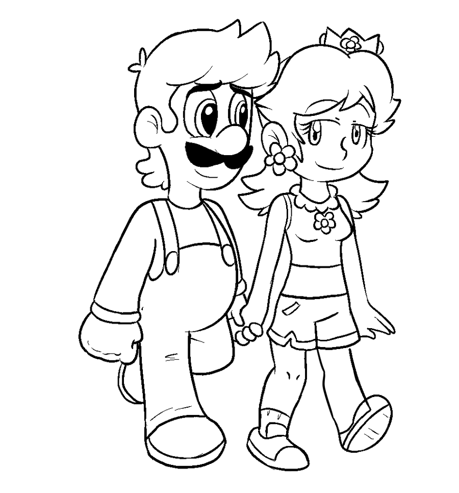 mario princesses coloring pages