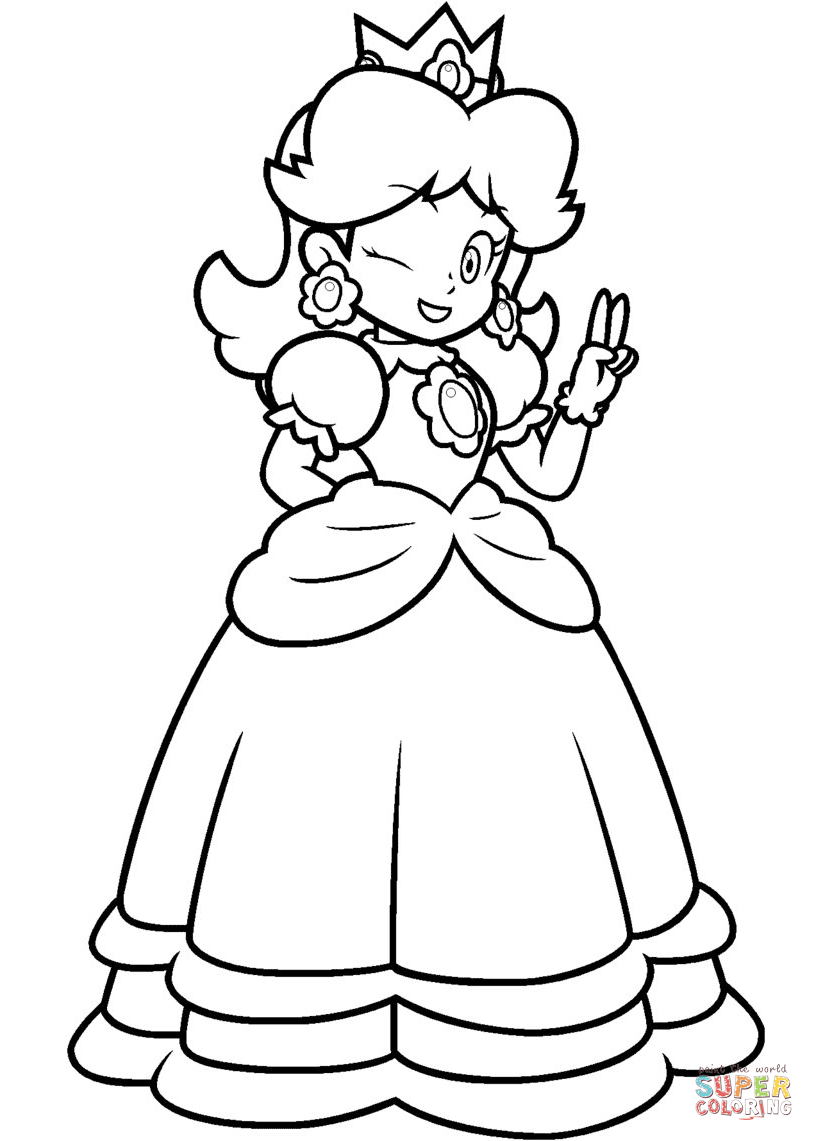 Princess Daisy Coloring Pages Png Free Princess Daisy Coloring