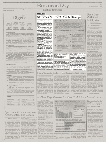 Road Diverging Image Black And White Png - Market Place; At Times Mirror, 2 Roads Diverge - The New York Times
