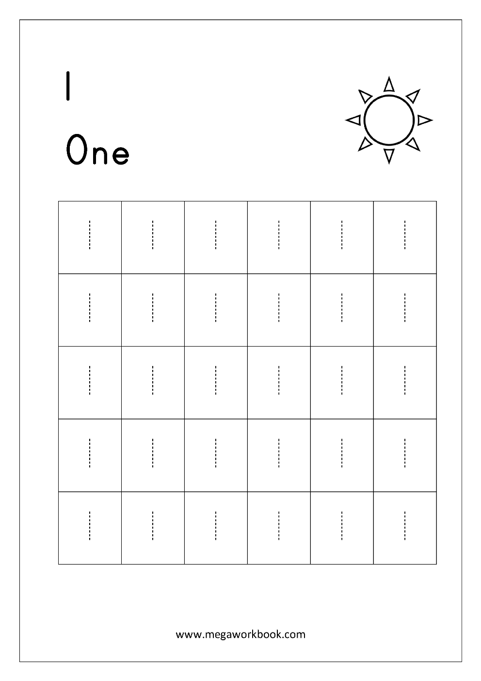 - Math Worksheet - Trace Number One (1) .. #68189 - PNG Images - PNGio