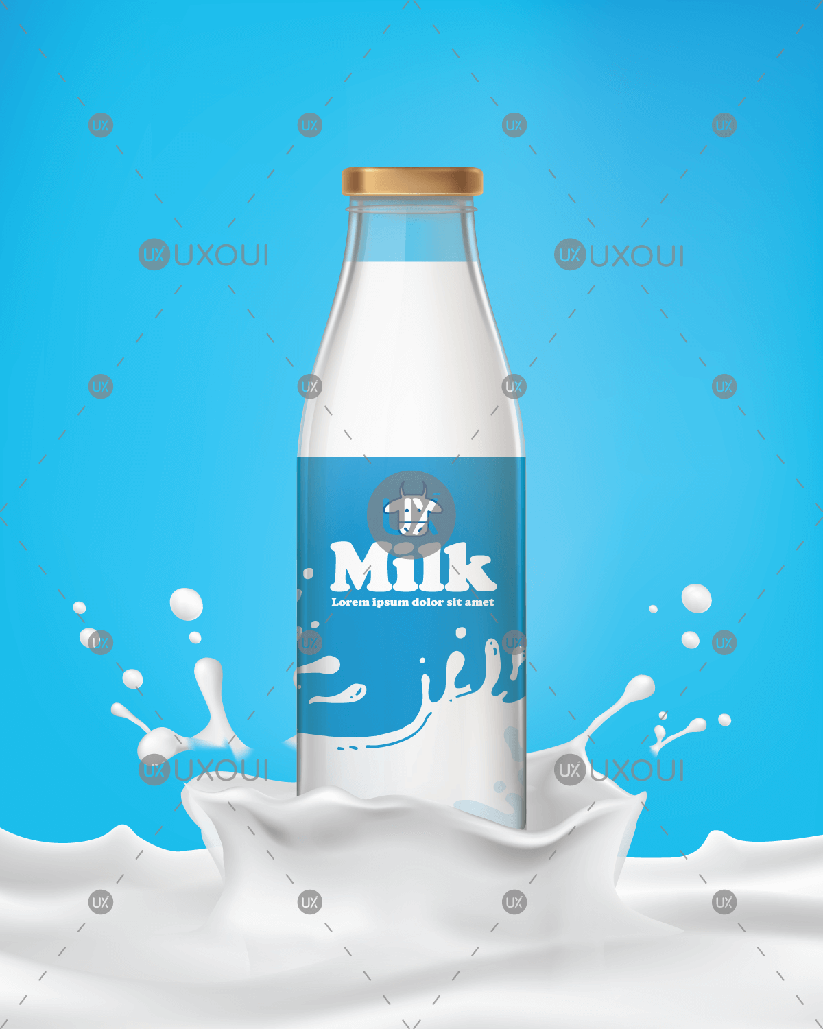 Milk Bottle Design Png - Milk glass bottle packaging and label design vector template ...