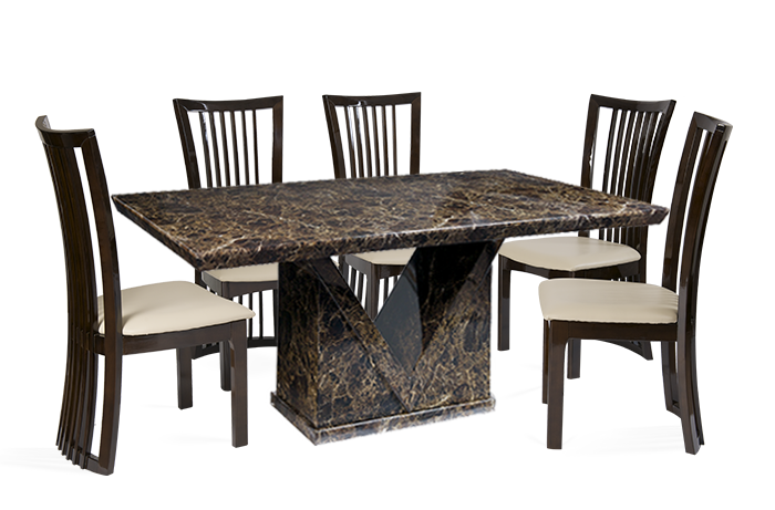 Dining Table Png Mocha Marble With Reni Leather Chairs 4 Or 6 Seater