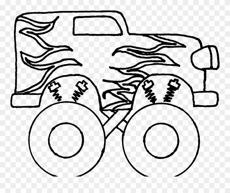 Monster Truck Clipart Black And White - Monster Truck Clipart Black And White Free - Easy Steps To Draw A ...