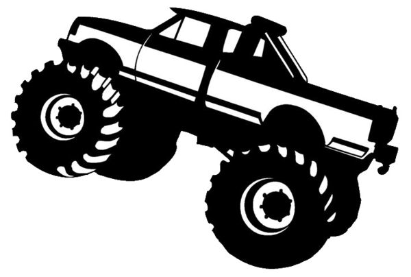 Monster Truck Clipart Black And White - Monster truck silhouette clipart 3 - WikiClipArt