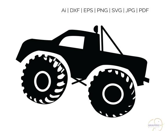 Monster Truck Clipart Black And White - Monster Truck SVG, EPS. Vector Clipart Digital Silhouette and ...