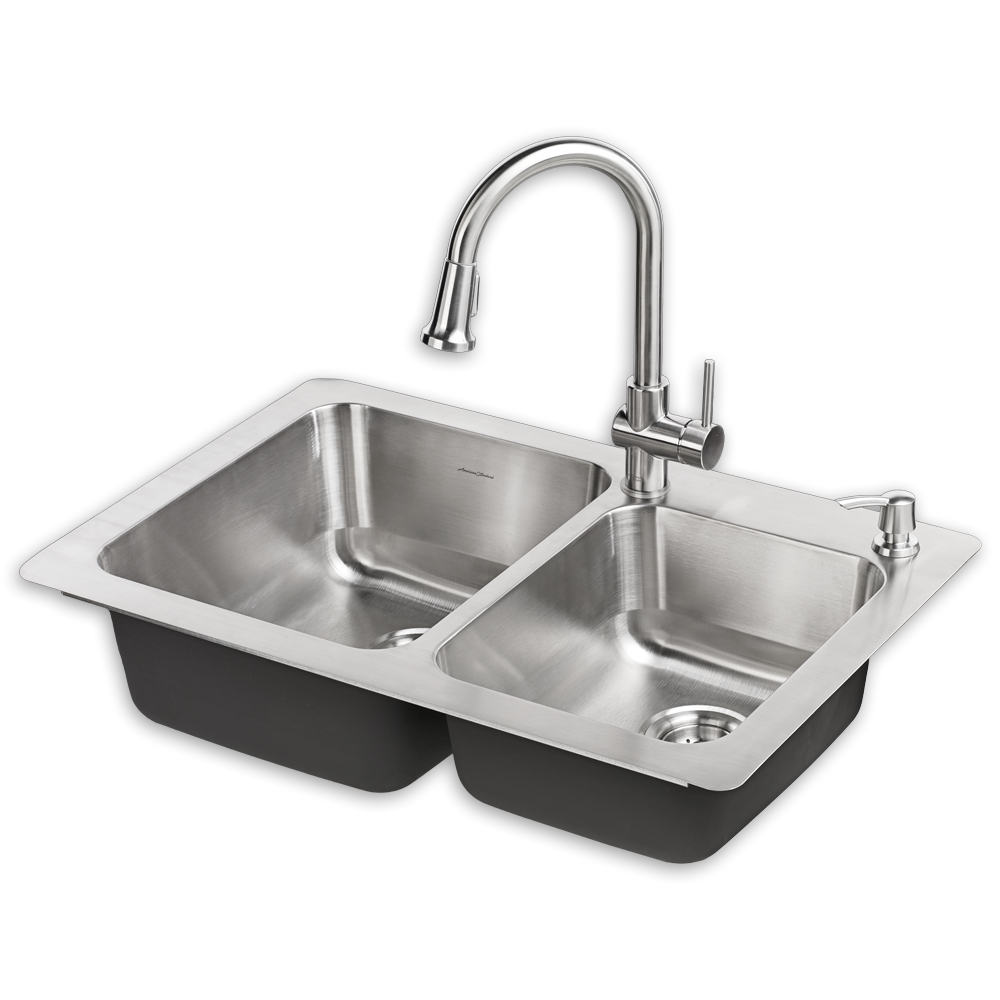 Montvale 33 x 22 kitchen sink with faucet american standard png
