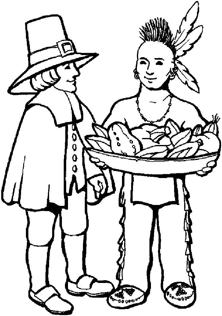 Pilgrims First Thanksgiving Coloring Page - Pilgrims offered ...   1033x728